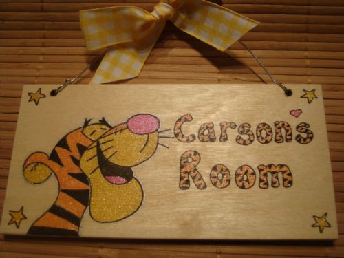 Tigger Tiger Head From Winnie the Pooh Personalised Unique Wooden Door Sign Playroom or Wendy House Plaque Handcrafted